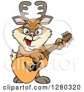 Clipart Of A Happy Doe Deer Playing An Acoustic Guitar Royalty Free Vector Illustration