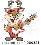 Clipart Of A Happy Doe Deer Playing An Electric Guitar Royalty Free Vector Illustration