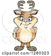 Clipart Of A Happy Doe Deer Standing Royalty Free Vector Illustration