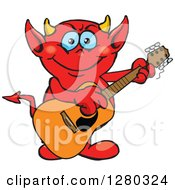 Clipart Of A Happy Devil Playing An Acoustic Guitar Royalty Free Vector Illustration by Dennis Holmes Designs