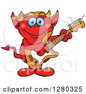 Clipart Of A Happy Devil Playing An Electric Guitar Royalty Free Vector Illustration by Dennis Holmes Designs