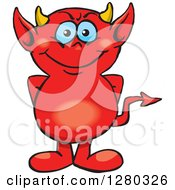 Clipart Of A Happy Blue Eyed Red Devil Royalty Free Vector Illustration by Dennis Holmes Designs