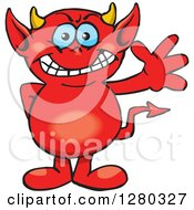 Clipart Of A Happy Blue Eyed Red Devil Waving Royalty Free Vector Illustration by Dennis Holmes Designs