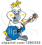 Clipart Of A Happy Cockatoo Bird Playing An Acoustic Guitar Royalty Free Vector Illustration