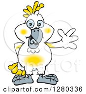 Clipart Of A Happy Cockatoo Bird Waving Royalty Free Vector Illustration