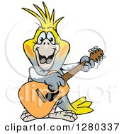 Clipart Of A Happy Cockatiel Bird Playing An Acoustic Guitar Royalty Free Vector Illustration by Dennis Holmes Designs