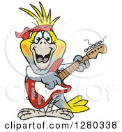 Clipart Of A Happy Cockatiel Bird Playing An Electric Guitar Royalty Free Vector Illustration by Dennis Holmes Designs