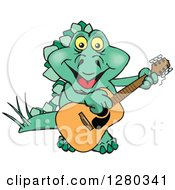 Clipart Of A Happy Steagosaur Dinosaur Playing An Acoustic Guitar Royalty Free Vector Illustration