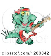 Clipart Of A Happy Steagosaur Dinosaur Playing An Electric Guitar Royalty Free Vector Illustration
