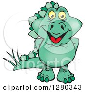 Clipart Of A Happy Green Steagosaur Dinosaur Royalty Free Vector Illustration
