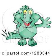 Clipart Of A Happy Green Steagosaur Dinosaur Waving Royalty Free Vector Illustration