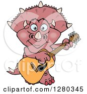 Clipart Of A Happy Triceratops Dinosaur Playing An Acoustic Guitar Royalty Free Vector Illustration by Dennis Holmes Designs