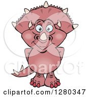Clipart Of A Happy Pink Triceratops Dinosaur Royalty Free Vector Illustration by Dennis Holmes Designs