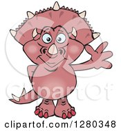 Clipart Of A Happy Pink Triceratops Dinosaur Waving Royalty Free Vector Illustration