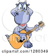 Clipart Of A Happy Apatosaurus Dinosaur Playing An Acoustic Guitar Royalty Free Vector Illustration by Dennis Holmes Designs