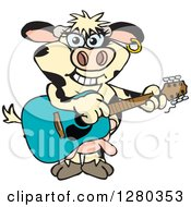 Clipart Of A Happy Holstein Cow Playing An Acoustic Guitar Royalty Free Vector Illustration