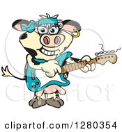 Clipart Of A Happy Holstein Cow Playing An Electric Guitar Royalty Free Vector Illustration