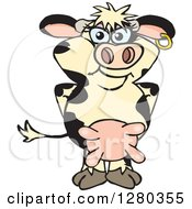Clipart Of A Happy Holstein Cow Standing Royalty Free Vector Illustration