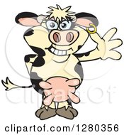 Clipart Of A Happy Holstein Cow Standing And Waving Royalty Free Vector Illustration