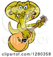 Clipart Of A Happy Cobra Playing An Acoustic Guitar Royalty Free Vector Illustration