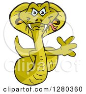 Clipart Of A Cobra Snake Waving Royalty Free Vector Illustration