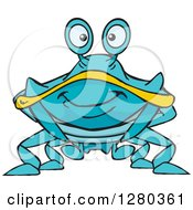 Clipart Of A Happy Blue And Yellow Crab Royalty Free Vector Illustration