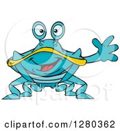 Clipart Of A Happy Blue And Yellow Crab Waving Royalty Free Vector Illustration