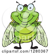 Clipart Of A Happy Cicada Standing Royalty Free Vector Illustration by Dennis Holmes Designs