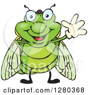 Clipart Of A Friendly Waving Cicada Royalty Free Vector Illustration by Dennis Holmes Designs