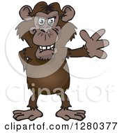 Clipart Of A Happy Chimpanzee Monkey Standing And Waving Royalty Free Vector Illustration