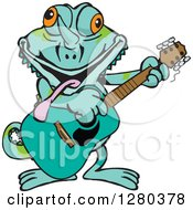 Clipart Of A Happy Chameleon Lizard Playing An Acoustic Guitar Royalty Free Vector Illustration by Dennis Holmes Designs