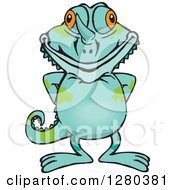 Clipart Of A Happy Chameleon Lizard Standing Royalty Free Vector Illustration by Dennis Holmes Designs