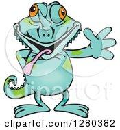 Happy Chameleon Lizard Waving