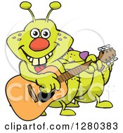 Clipart Of A Happy Caterpillar Playing An Acoustic Guitar Royalty Free Vector Illustration