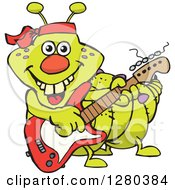 Clipart Of A Happy Caterpillar Playing An Electric Guitar Royalty Free Vector Illustration