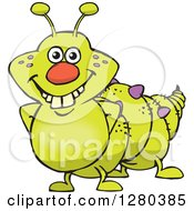 Clipart Of A Happy Caterpillar Smiling Royalty Free Vector Illustration by Dennis Holmes Designs