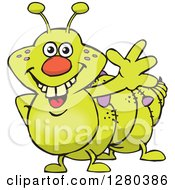 Clipart Of A Happy Caterpillar Waving Royalty Free Vector Illustration
