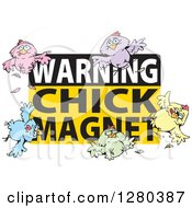 Clipart Of A Warning Chick Magnet Sign With Birds Royalty Free Vector Illustration