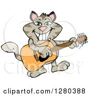 Clipart Of A Happy Tabby Cat Playing An Acoustic Guitar Royalty Free Vector Illustration