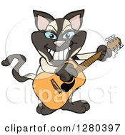 Clipart Of A Happy Siamese Cat Playing An Acoustic Guitar Royalty Free Vector Illustration