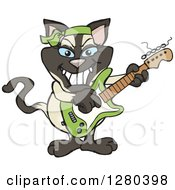Clipart Of A Happy Siamese Cat Playing An Electric Guitar Royalty Free Vector Illustration