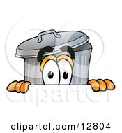 Clipart Picture Of A Garbage Can Mascot Cartoon Character Peeking Over A Surface by Toons4Biz