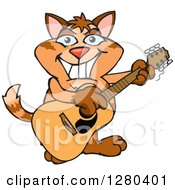 Clipart Of A Happy Ginger Tabby Cat Playing An Acoustic Guitar Royalty Free Vector Illustration