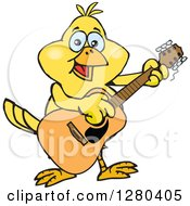 Clipart Of A Happy Yellow Canary Bird Playing An Acoustic Guitar Royalty Free Vector Illustration by Dennis Holmes Designs