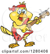 Clipart Of A Happy Yellow Canary Bird Playing An Electric Guitar Royalty Free Vector Illustration by Dennis Holmes Designs
