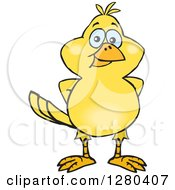 Clipart Of A Happy Yellow Canary Bird Royalty Free Vector Illustration