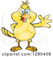 Clipart Of A Friendly Waving Yellow Canary Bird Royalty Free Vector Illustration by Dennis Holmes Designs