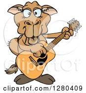 Clipart Of A Happy Camel Playing An Acoustic Guitar Royalty Free Vector Illustration by Dennis Holmes Designs