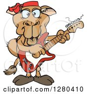 Clipart Of A Happy Camel Playing An Electric Guitar Royalty Free Vector Illustration by Dennis Holmes Designs
