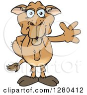 Clipart Of A Happy Camel Waving Royalty Free Vector Illustration